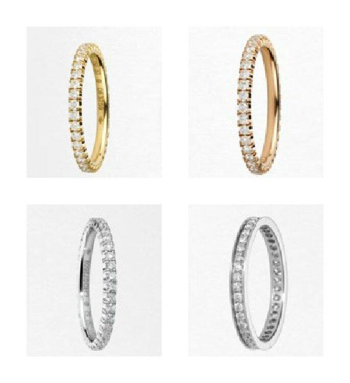 Fedi nuziali con pavè di diamanti in oro giallo,rosa,bianco e platino. Foto www.cartier.it