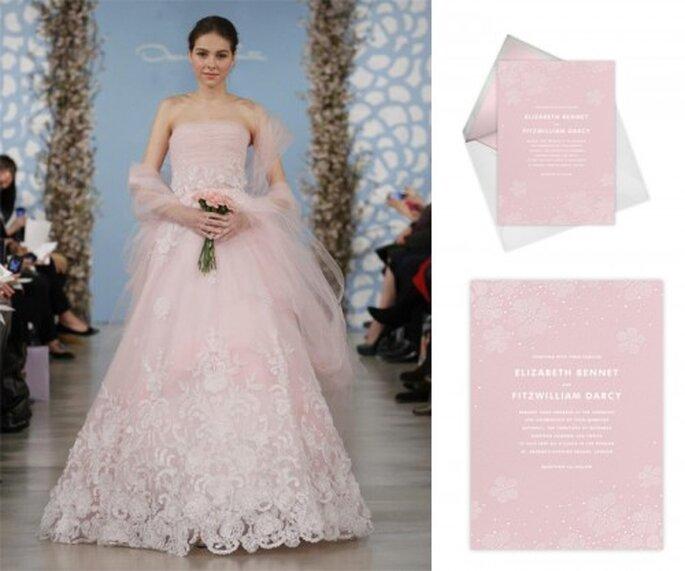Invitación de boda femenina en color rosa - Foto Oscar de la Renta, Paperless Post