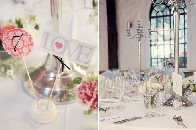 Números de mesa para boda. Fotografía NANCY EBERT
