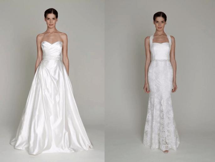 Vestidos de novia en color blanco con detalles de encaje y acabados en satén - Foto Monique Lhuillier