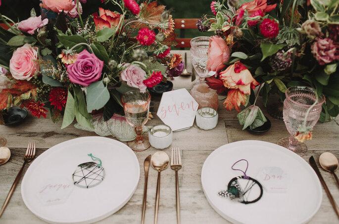 Decoración para mesas estilo romántico y bohemio, detalles de recuerdo para invitados