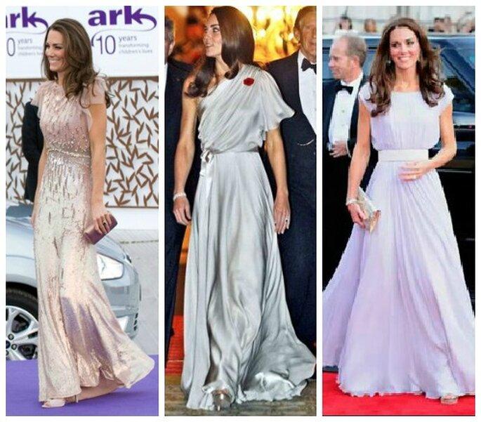 Jenny Packham (suoi i primi due abiti) e Alexander McQueen (suo l'abito a destra color lavanda) sono due degli stilisti più amati da Kate che li sceglie spesso,soprattutto per gli eventi di gala. Foto: www.youtube.com