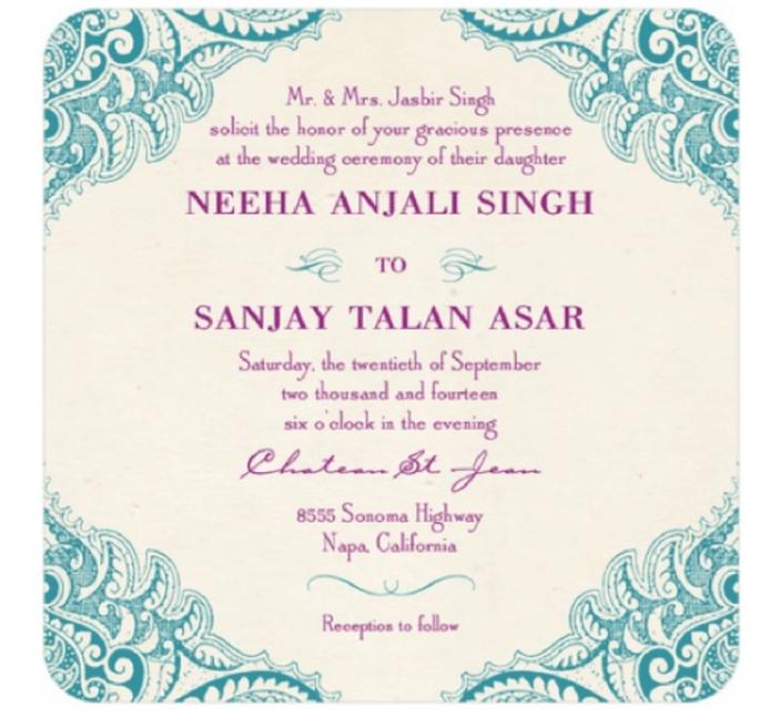 Invitación de boda vintage en colores azul con morado - Foto Wedding Paper Divas