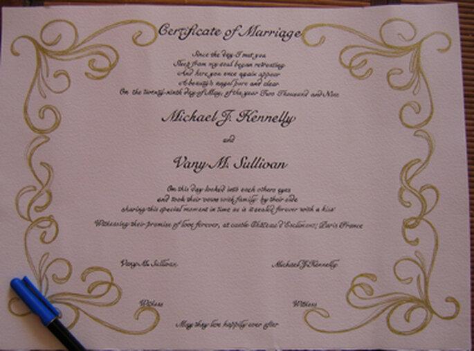 calligraphie certif de mariage