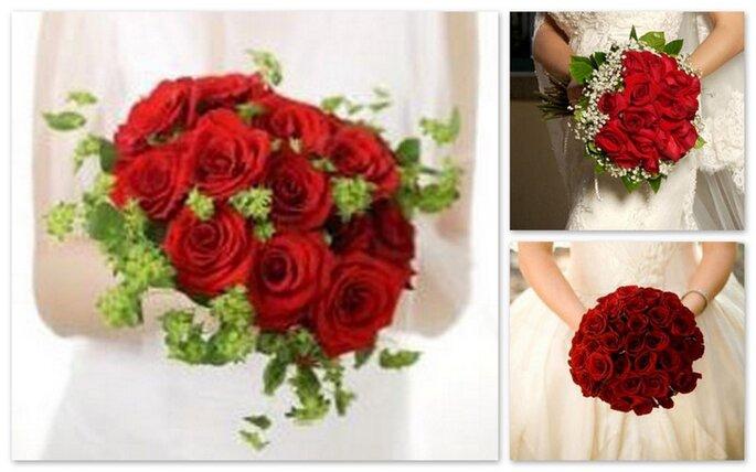 tre bouquet con rose rosse e forma rotonda