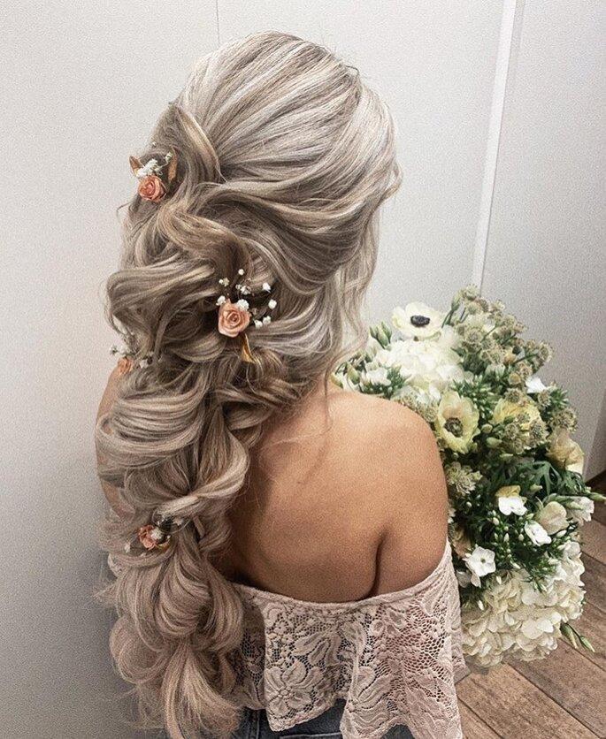Boho-Brautfrisur lange Haare