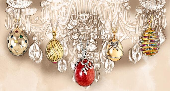 Dijes de huevos en miniatura de Fabergé. Colección Les Favorites. Foto: www.faberge.com
