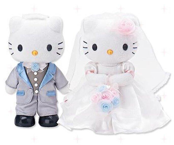 Novios Hello Kitty para adornar la torta de boda