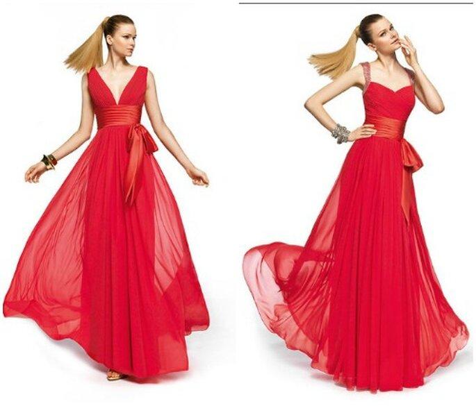 Scollatura a V profonda oppure romantica a cuore, l'importante è che l'abito sia rosso ed enfatizzi il decollete. Pronovias Fiesta 2013. Foto www.pronovias.com