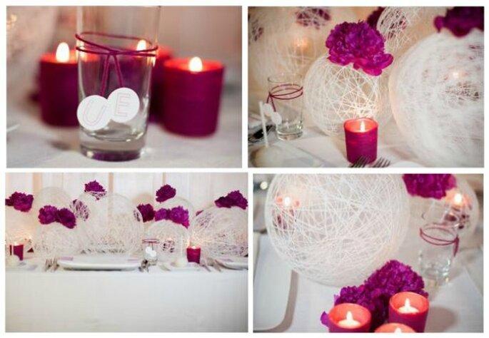 Candele in tinta con il colore dominante del matrimonio. Foto www.partecipazionipermatrimonio.com