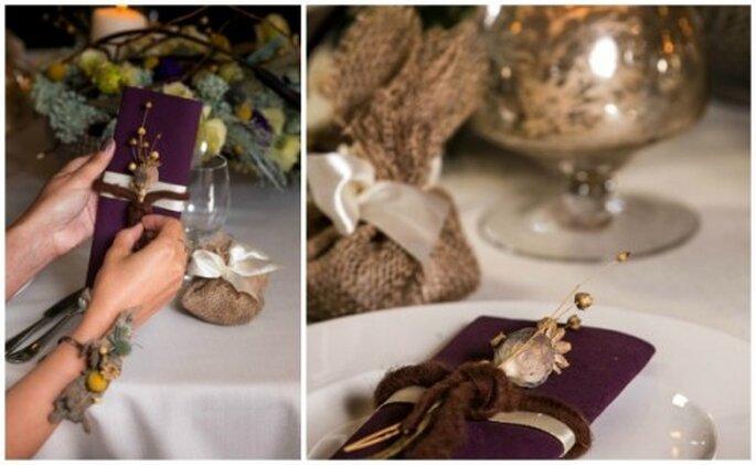 dekoracje stołu w kolorach jesieni