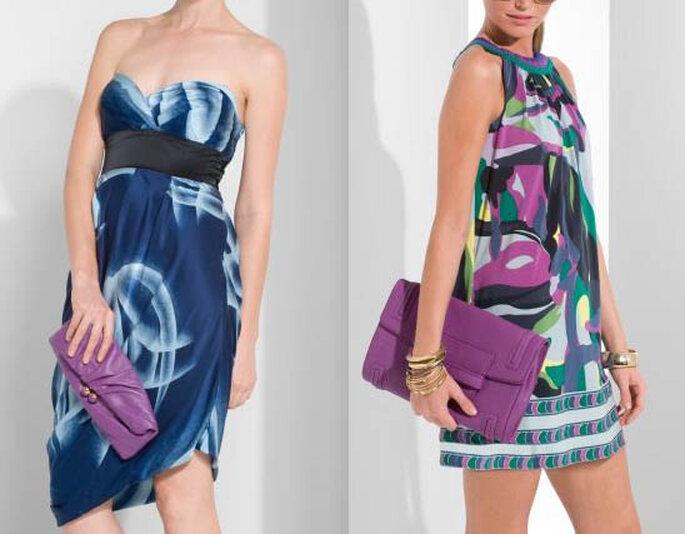 Bolsos en tono violeta con dos versiones. Un minibag y otro tipo portafolio
