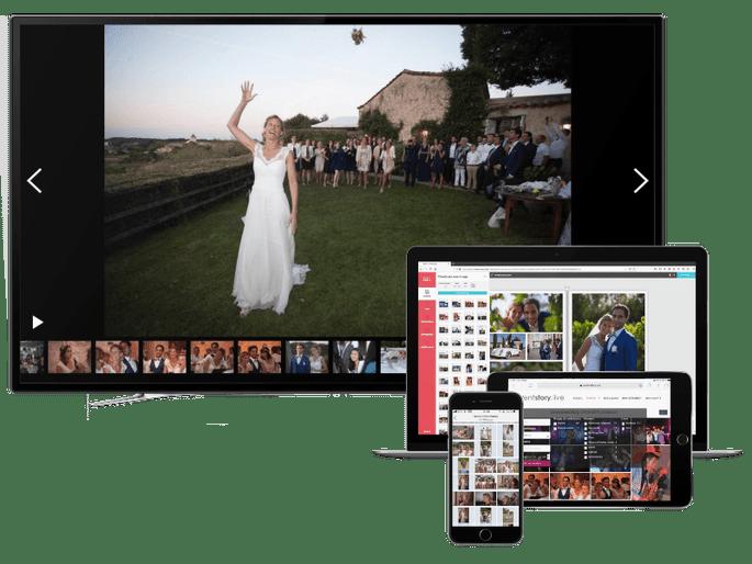 Un écran, une tablette, un écran mac, un écran téléphone montrant que l'application pour partager vos photos est multi-support