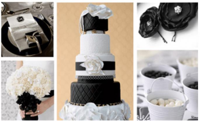 Dettagli in bianco e nero per la cerimonia di nozze