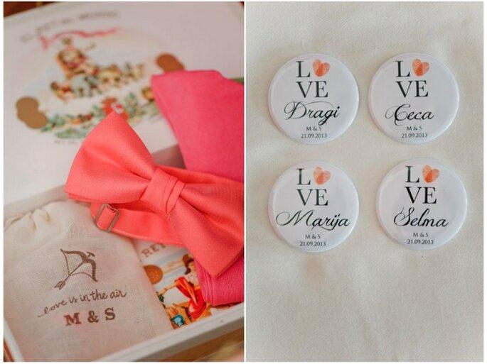 Kreative Buttons, die als täglicher Begleiter immer an die Hochzeit erinnern. Foto: Nadia Meli