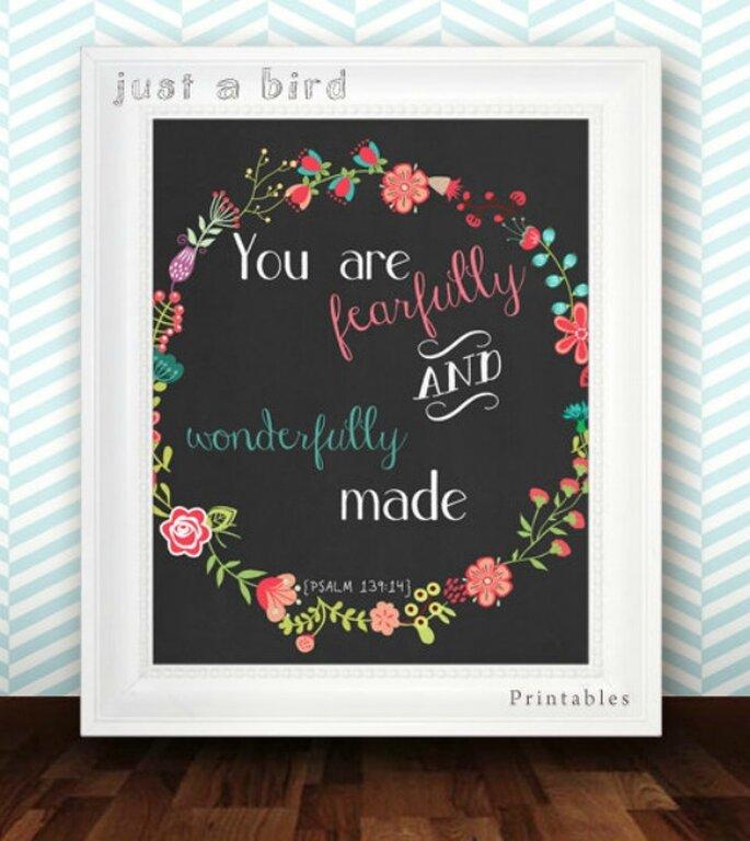 10 mensajes de amor para decorar tu boda - Foto Just a Bird Printables vía de Etsy