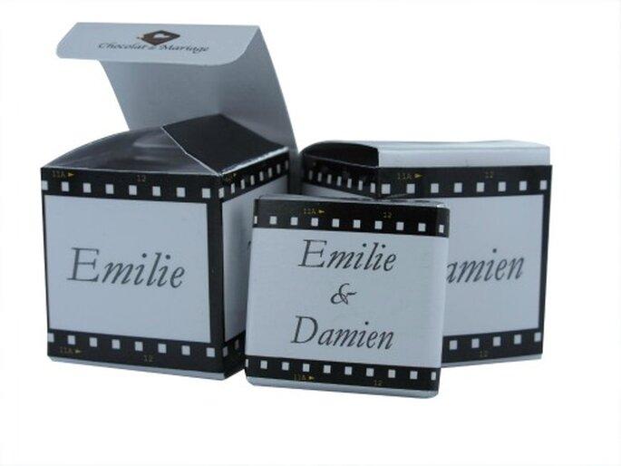 Personnalisez vos cadeaux d'invités en fonction de votre thème de mariage - Photo : Chocolat de Mariage