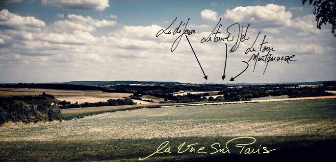 Les Bonnes Joies - la vue panoramique qu'offre les Bonnes Joies avec Paris qui s'élève à l'horizon