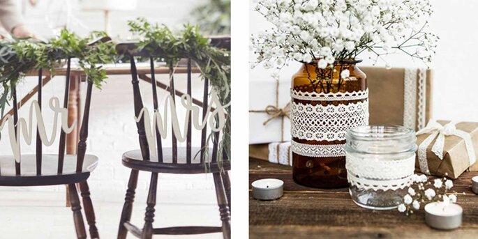 Decoración para silla de madera sr y sra.