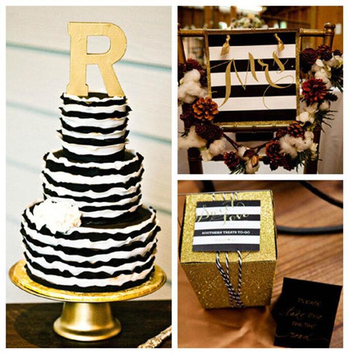 Inspiración en oro para boda. Foto de Erin Rene Photography.