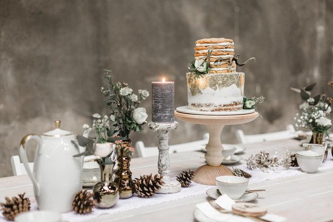 Weiße Hochzeitsdekoration Winterhochzeit