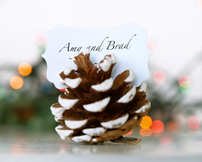 Snowy Pinecone Seating Card Holder via FairyfolkWeddings on Etsy.
