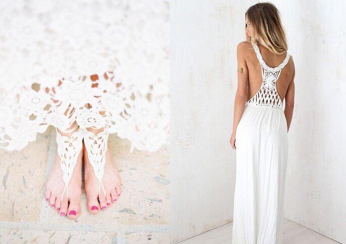 Photos : à gauche, Melissa Jill; à droite, vestido de Sabo Skirt