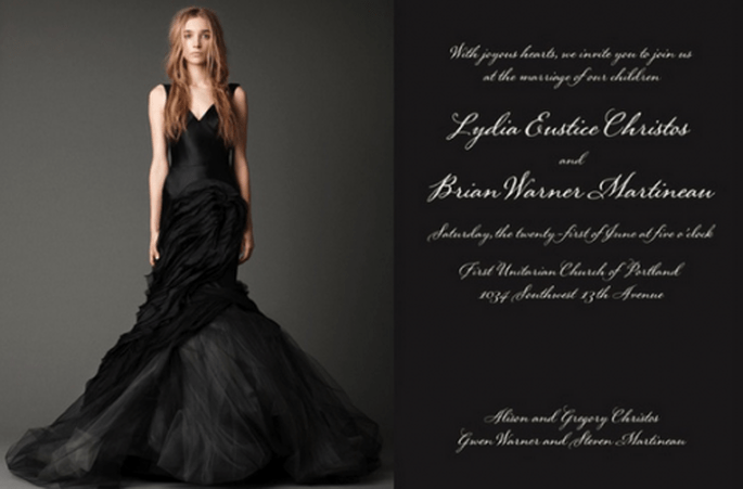 Invitación de boda inspirada en el vestido de novia modelo Janice - Foto Vera Wang