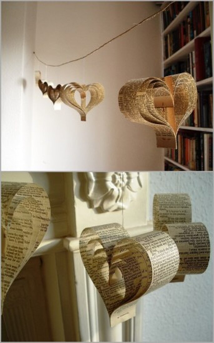 Handmade paper garlands from Etsy seller bookity
