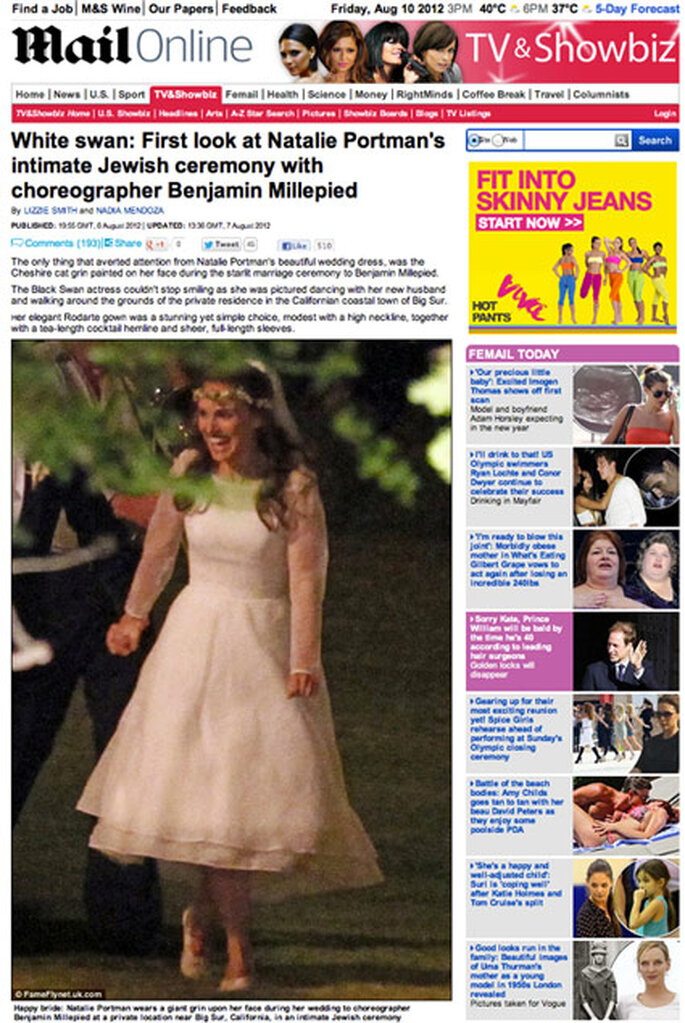 El Daily Mail ha sido el único medio que ha publicado fotos de la boda de Natalie Portman. Foto: Daily Mail