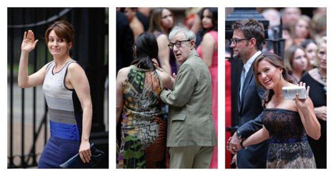 Tina Fey, Woody Allen, et Mariska Hargitay arrivant au mariage d'Alec Baldwin