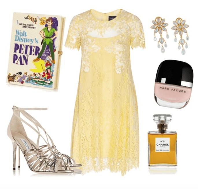 Vestido de Notte by Marchesa, zapatos de Jimmy Choo, clutch de Olympia Le Tan, aretes de Munnu, esmalte de Marc Jacobs, perfume de Chanel - Fotos Net a Porter