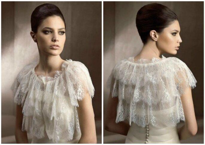 En estilo vintage, bolero de novia para novia. Foto: Pronovias