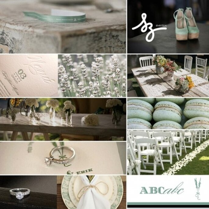 Collage de inspiración para una boda shabby sweet con decoración en color menta -