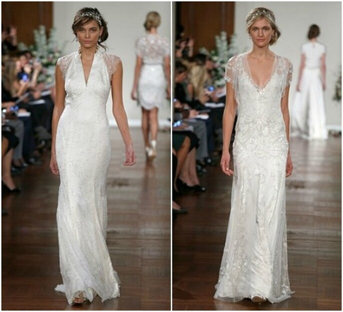 Ricami preziosi e scollature sensuali per questi abiti Jenny Packham Fall 2013 Bridal Collection. Foto: www.jennypackham.com