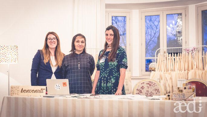 Il desk di accoglienza con Francesca Tasselli dell'Associazione Make e da Elisa Monelletta di Youco Wedding - Foto by AEDI Studio