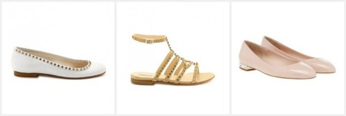 Scarpe basse per tutti i gusti: da sinistra, ballerine con micro borchie, sandali dorati (Emile Delphine Manivet) e ballerines a punta color cipria Miu Miu,