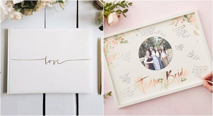 Decoración para bodas en jardines con libros de firmas