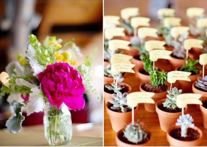 Plantas: interior, exterior para boda. Foto de Jen Lynne.