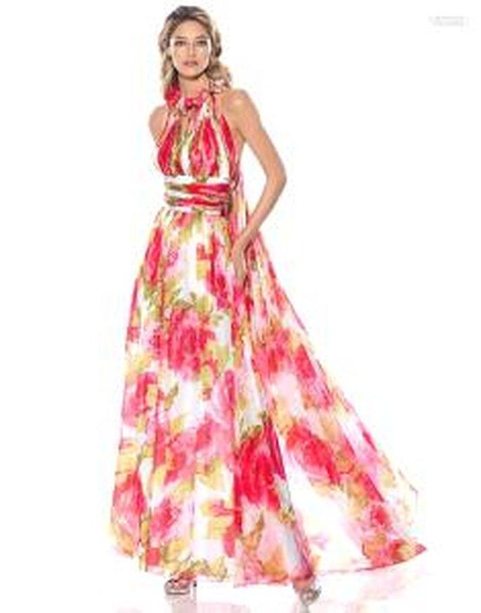 Pronovias Cóctel 2010 - Aramis, vestido largo de talle alto, escote halter, colores florales