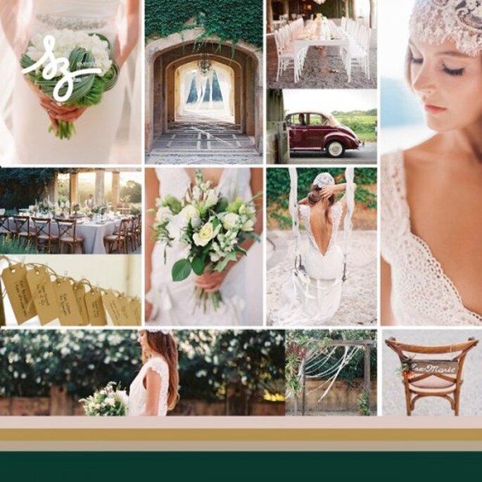 Collage de inspiración para una boda con detalles clásicos en un lugar rústico - Foto atelierjoya.com, featherandstone.com.au, lovemydress.net - Diseño de Raisa Torres para SZ Eventos szeventos.com
