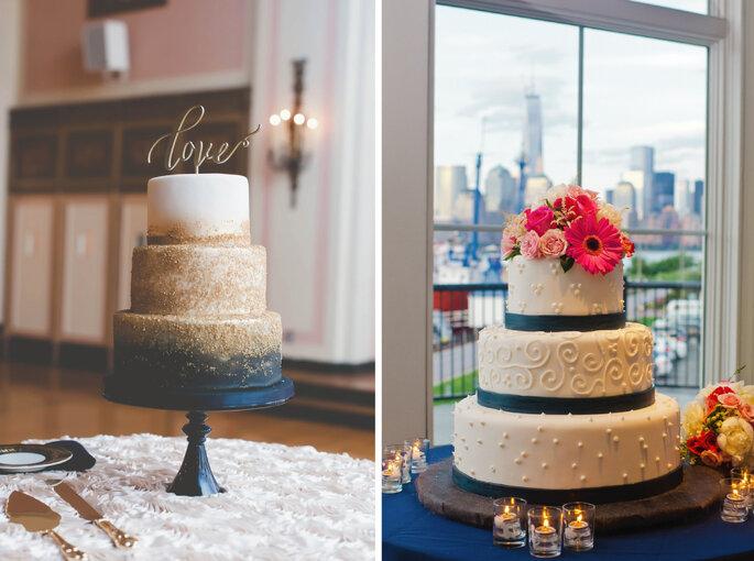 Bolo de noiva por Zingerman's Bakehouse (direita). Foto: Rachel Pearlman Photography (esquerda)