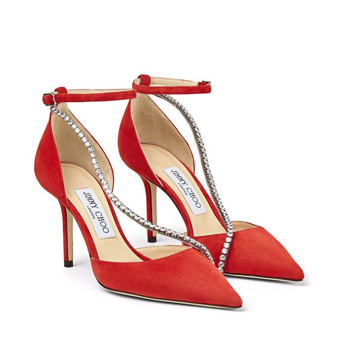 Zapatos de novia de color rojo con cristales