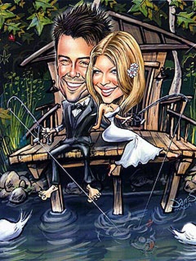 faire-part personnalisé de Fergie et Josh Duhamel avec leur caricature