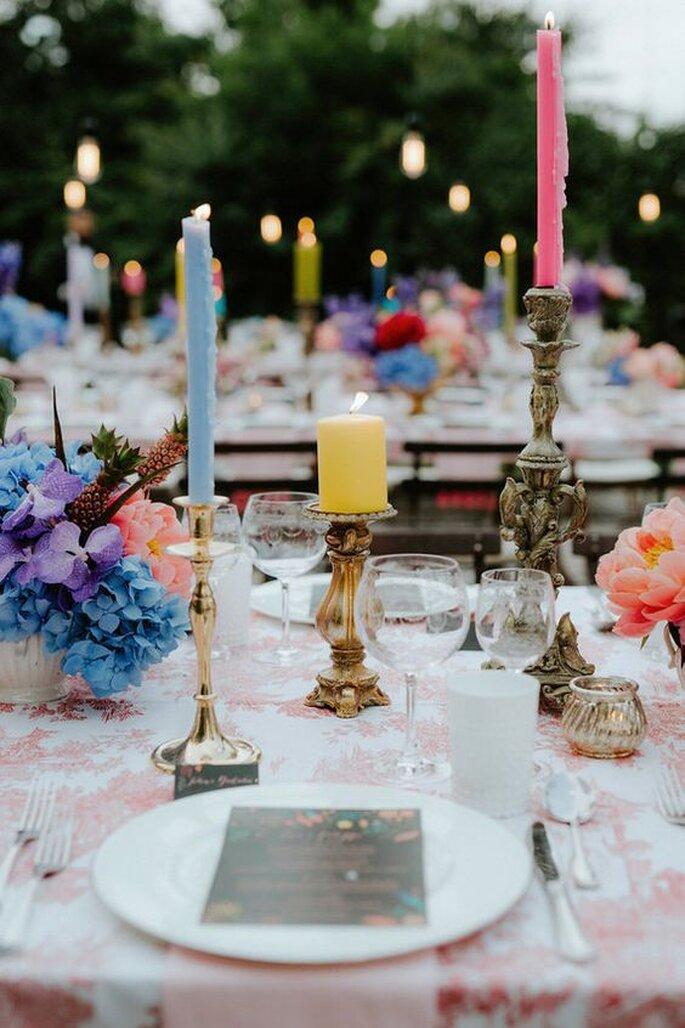 Eclectic Wedding Bunte Tischdekoration