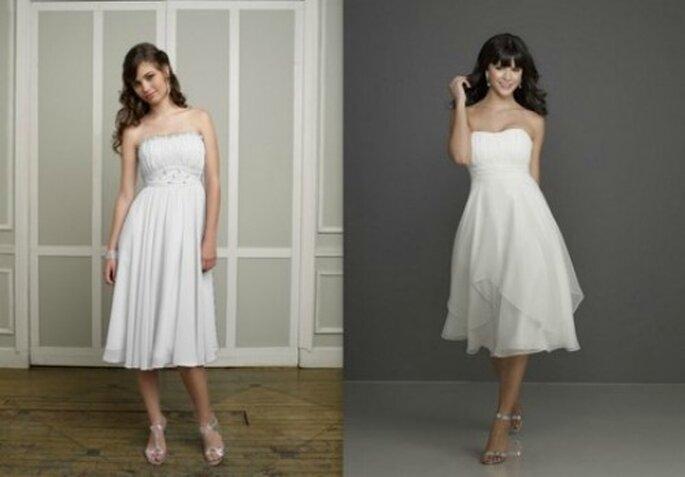 Due modelli in bianco perfetti per le invitate. Collezione Bridesmaid By Mori Lee. Foto www.morilee.com