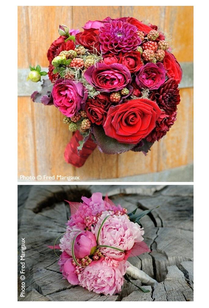 Dos estilos diferentes de ramos de rosa - Foto: © Fred Marigaux