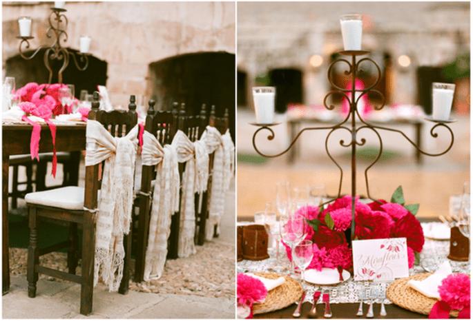 Decoraciones originales para las sillas del banquete de bodas - Foto Aaron Delesie