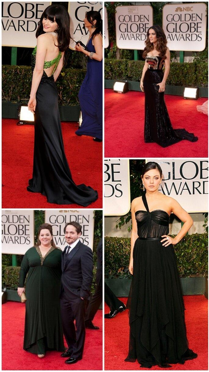 Salma Hayek, Mila Kunis, Zooey Deschanel, Melissa McCarthy en Golden Globes 2012