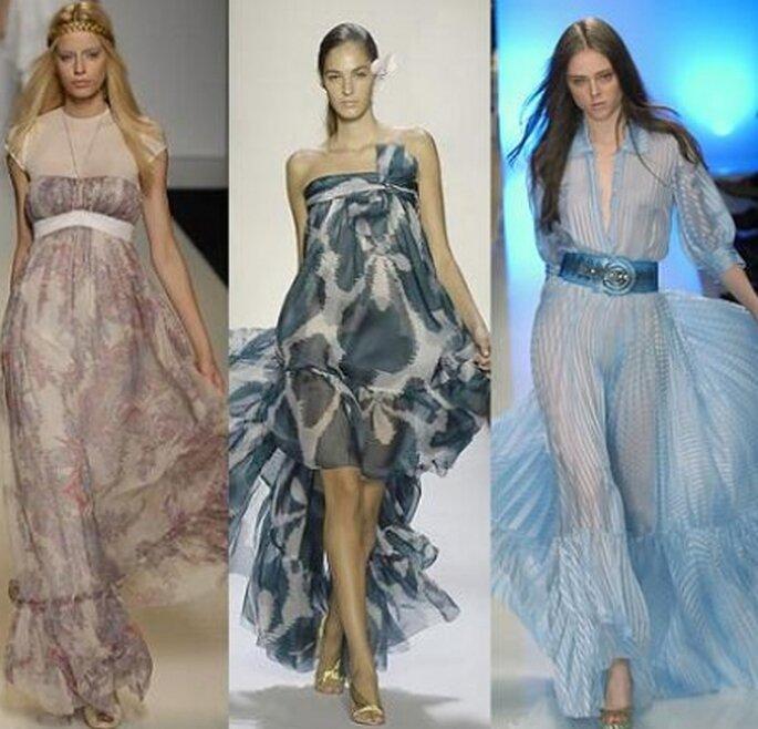 Vestidos largos, vaporosos y con transparencias para todos los gustos.